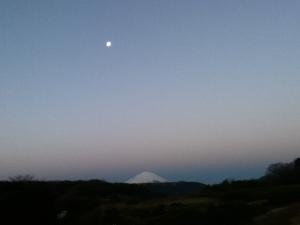 地球影と富士山と月
